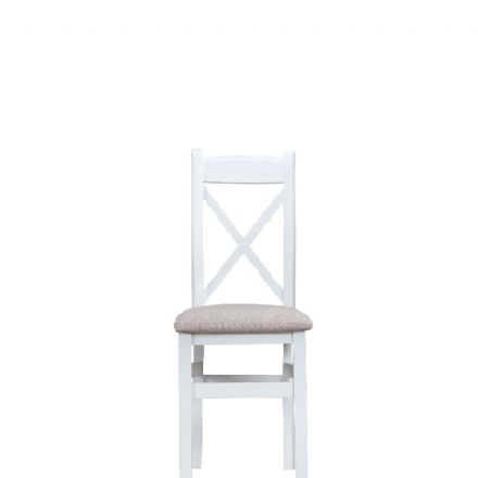 Toulouse White Cross-Back Fabric Seat Chair